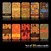 Vector clipart: Set of ten decorative cards