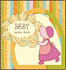 Vector clipart: Baby Girl Invitation Card