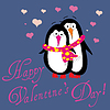 Valentine Greeting Card With Two Penguins In Love | Stock Vector Graphics