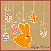 Antique postcard with Easter rabbit | Stock Vector Graphics