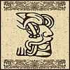 Vector clipart: Aztec face pictogram
