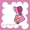 Vector clipart: Baby girl arrival announcement card