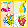 Vector clipart: Abstract fruits isolated on colorful background