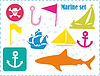 Vector clipart: Postcard with pirates set
