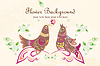 Vector clipart: Vector floral post card with birds