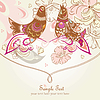 Vector clipart: floral post card with birds