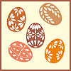 Vector clipart: Set of six Easter eggs with with ornaments