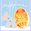 Vector clipart: cute Easter bunny holding egg
