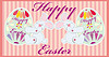 Two easter funny rabbits with eggs