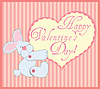 Valentine Greeting Card With Rabbit