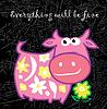 Vector clipart: Cartoon pink cow