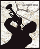 Vector clipart: Silhouette of man with trumpet on grunge background