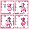 Vector clipart: set of baby girl arrival announcement card