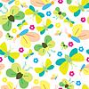 Vector clipart: Butterflies seamless green