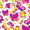 Vector clipart: Butterflies seamless yellow-pink