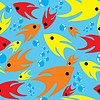 Vector clipart: Bright joyful fishes in pattern