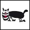 Vector clipart: Crazy, smiling cat