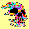 Vector clipart: Skull in rainbow