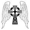 Vector clipart: Black cross with wings