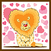 Vector clipart: Lion with hearts