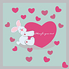 Vector clipart: Smiled rabbit embraces the heart, illustration