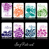 Vector clipart: Set of eight colorfu floral cards
