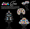 Vector clipart: Set of abstract trees on black background . Vector.