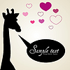 Giraffe in love with chat bubble