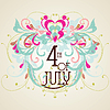 Vector clipart: Independence Day- 4 of July- Vintage card