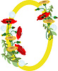 Vector clipart: Frame with bouquet of poppies and dandelions