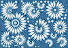 Vector clipart: Blue background with flowers