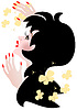 Vector clipart: Dark haired woman with bright makeup