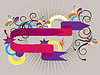 Vector clipart: Banner with colored arrows and decor