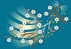 Vector clipart: White flowers on branch