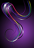 Bright curved stripes on purple background