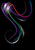 Vector clipart: Bright curved stripes on black background