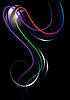 Векторный клипарт: Яркий изогнутые полоски на черном фоне