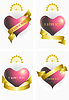 Vector clipart: Variants of the heart and ribbons.