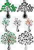 Vector clipart: Stylized trees of different species