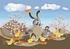 Huhn, Kaninchen besuchen
