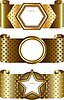 Elegant golden frame on the background of the stars.   Stock Vector Graphics