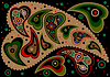 Colored paisley on black background.