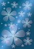 Abstract blue background with  transparent  flower