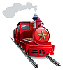 Red steam locomotive