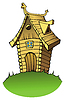 Vector clipart: Cartoon wooden house