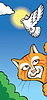 Vector clipart: Cat and dove