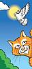 Векторный клипарт: Кот и голубь