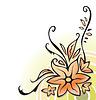 Векторный клипарт: Декоративный уголок с цветами