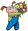 Vector clipart: Girl with bunch of flowers