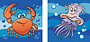 Vector clipart: Marine life: crab and jellyfish